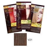 Тонизиращ шампоан с кератин Camco Victoria Beauty Keratin Therapy, нюанс V21 Medium Brown, 40мл
