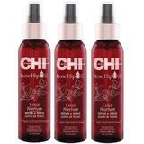 Пакет 3 x Тонизиращ възстановяващ лосион Leave-In за боядисана коса - CHI Farouk Rose Hip Oil Color Nurture Repair & Shine Leave-In Tonic, 118мл